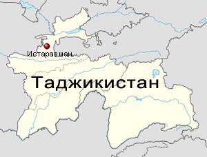 Истаравшан на карте Таджикистана
